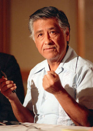 Photo -   FILE - In this March 8, 1989 file photo, Cesar Chavez gestures as he speaks during a news conference in Los Angeles. Today, the foothills of the Tehachapi mountains continue to house the United Farm Workers of America headquarters and memorials to Chavez, though farmworkers no longer live there. President Obama is designating parts of the property as a national monument and visiting the site on Monday, a move seen as likely to shore up support from Hispanic and progressive voters just five weeks before the election. (AP Photo/Alan Greth, File)