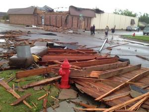 photo - Tornado damage in Norman on April 13, 2012. Photo by Steve Sisney.