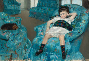 "Photo - This image provided by the National Gallery of Art shows Mary Cassatt's 1978 oil painting ""Little Girl in a Blue Armchair."" The painting is a centerpiece of the new exhibit and shows the collaboration between Degas and Cassatt. During an extensive conservation of Cassatt's paining ""Little Girl in a Blue Armchair"" last year, the museum used x-rays and infrared imagery to reveal changes Degas made under the surface of Cassatt's picture. (AP Photo/National Gallery of Art)"