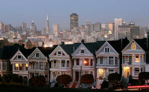 Photo -   FILE-In this Monday, May 12, 2008, file photo, a row of historical Victorian homes, underscore the San Francisco skyline in a view from Alamo Square,Calif. Apartment rents in San Francisco have soared beyond the lofty levels of the original Internet boom more than a decade ago. This time, it's being driven by well-paid software engineers and Web designers who are flocking to Silicon Valley. (AP Photo/Marcio Jose Sanchez, FIle)