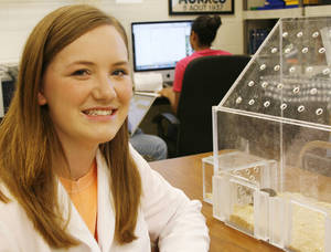 Photo - As a freshman, Oklahoma State University sophomore Lauren Foley became involved in a study of prairie voles through OSU's Freshman Research Scholars program. Photos by Silas Allen, The Oklahoman