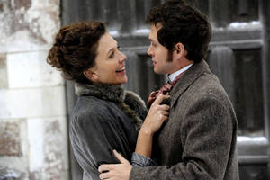 "Photo - Maggie Gyllenhaal as Charlotte Dalrymple and Hugh Dancy as Mortimer Granville in ""Hysteria."" Sony Pictures Classics photo. <strong></strong>"