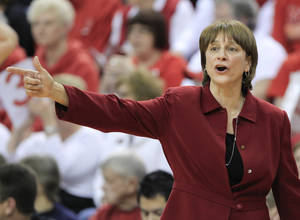 photo - Nebraska coach Connie Yori calls instructions in the first half of an NCAA college basketball game against Penn State in Lincoln, Neb., Sunday, March 3, 2013. Penn State won 82-67. (AP Photo/Nati Harnik)