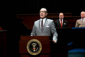 "Photo - This image released by Jeffrey Richards Associates shows Bryan Cranston portraying President Lyndon B. Johnson during a performance of ""All the Way."" The play is nominated for a Tony Award and Cranston, who plays Johnson during his first year in office following the assassination of John F. Kennedy, is nominated for best performance by an actor in a leading role in a play. The Tony Awards will be held on Sunday, June 8, 2014 in New York. (AP Photo/Jeffrey Richards Associates, Evgenia Eliseeva)"