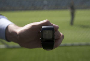 """Photo - The goal-line monitoring device is shown during a media presentation at the Maracana stadium in Rio de Janeiro, Brazil, Monday, June 9, 2014.  For the first time in a World Cup,  goal-line technology will be used to determine whether a ball crosses the goal line. Fourteen cameras _ seven trained on each goalmouth _ have been hung from catwalks in all 12 World Cup stadiums. The cameras will record 500 images per seconds, and a computer will digest the frames. Within a second, the referee's special watch will vibrate and flash """"GOAL."""" (AP Photo/Silvia Izquierdo)"""