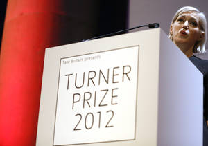 Photo - Elizabeth Price, the winner of the Turner Prize 2012 delivers a speech at the Tate Britain art gallery in London, Monday, Dec. 3, 2012. (AP Photo/Kirsty Wigglesworth)