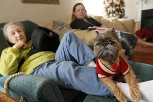 Photo - Trevor, a Brussels Griffon, sits on the leg of his owner, resident Cathi Doar, left, next to manager Lisa Schrameck  in the common area at Green Acres, 7601 SW 74. <strong>NATE BILLINGS - The Oklahoman</strong>