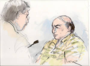 photo -   File-This Sept. 27, 2012 file courtroom sketch shows shows Mark Basseley Youssef talking with his attorney Steven Seiden, left, in court in Los Angeles. Youssef received a one-year sentence Wednesday Nov. 7, 2012, in federal prison for parole violation. (AP Photo/Mona Shafer Edwards, file)