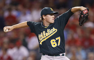 Photo -   Oakland Athletics starting pitcher Dan Straily throws against the Los Angeles Angels in the first inning of a baseball game in Anaheim, Calif., Tuesday, Sept. 11, 2012. (AP Photo/Jae Hong)