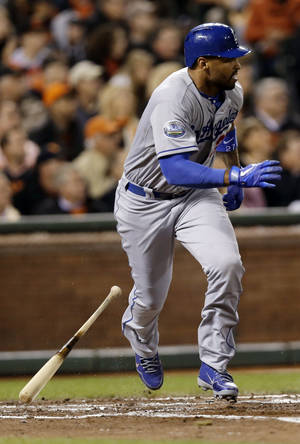 Photo -   Los Angeles Dodgers' Matt Kemp heads to first on an RBI ground-out during the third inning of a baseball game against the San Francisco Giants on Friday, Sept. 7, 2012, in San Francisco. (AP Photo/Marcio Jose Sanchez)