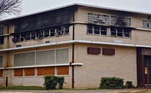 photo - Arson investigators think a fire that destroyed four classrooms in the old John Marshall High School building Saturday was intentionally set.  Photos by Chris Landsberger, The Oklahoman