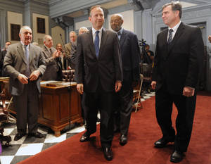 photo - Delaware Gov. Jack Markell enters the Senate chamber to deliver his state of the state speech before a joint session of the General Assembly Thursday, Jan. 17, 2013 in Dover, Del. (AP Photo/The News Journal, Gary Emeigh)