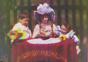photo -   In this image released by Britain's National Media Museum on Wednesday, Sept. 12, 2012, Alfred Raymond Turner, Agnes May Turner and Wilfred Sidney Turner, circa 1902, are depicted amongst the earliest color moving pictures ever made, which have been rediscovered after more than 100 years. The footage, made by cinematic pioneer Edward Turner in around 1901, was found in the archives of the National Media Museum in Bradford and with the help of experts at the BFI National Archive was transformed into watchable digital files. (AP Photo/National Media Museum)