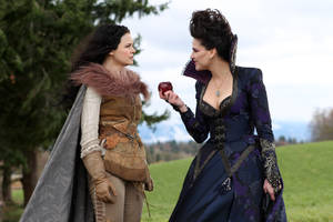 "Photo - FILE - This publicity photo provided by ABC shows actresses, Ginnifer Goodwin, left, and Lana Parrilla, in a scene from ABC's ""Once Upon a Time"".  ABC is planning a spinoff of its fairytale drama ""Once Upon a Time"" for next season as well as an action-adventure series based on the Marvel Comics universe. That show, ""S.H.I.E.L.D.,"" comes from hit-maker Joss Whedon. ABC announced its programming plans on Friday, May 10, 2013. (AP Photo/ABC, Jack Rowand, File)"