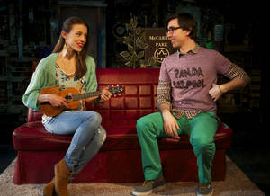"Photo - This March 21, 2013 theater image released by Springer Associates PR shows, Katherine Cozumel, left, and Max Crumm during a performance of ""F#%king Up Everything,"" in New York. (AP Photo/Springer Associates PR, T Charles Erickson)"