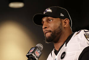 photo - Baltimore Ravens linebacker Ray Lewis speaks during an NFL Super Bowl XLVII football news conference on Wednesday, Jan. 30, 2013, in New Orleans. Lewis denied a report linking him to a company that purports to make performance-enhancers. The Ravens face the San Francisco 49ers in the Super Bowl on Sunday. (AP Photo/Patrick Semansky)