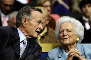 Photo - In this Sept. 2, 2008 file photo, former U.S. President George H.W. Bush, left, and former first lady Barbara Bush are seen at the Republican National Convention in St. Paul, Minn. A family spokesman said Wednesday, March 4, 2009 that former first lady Barbara Bush had successful open heart surgery. (AP Photo/Susan Walsh, File)