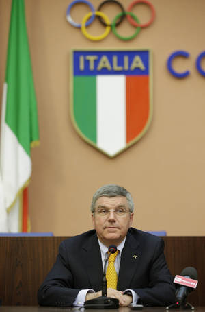 "Photo - International Olympic Committee President Thomas Bach attends a press conference in Rome, Monday, June 9, 2014.  IOC President Thomas Bach believes Rome would be a strong contender to host the 2024 Summer Olympics. Speaking at a conference celebrating the centenary of the Italian Olympic Committee, Bach says ""it would be a very strong bid which many people would like. Not only in the Olympic family but inside the whole movement."" Rome had to pull out of the bidding for the 2020 Games when the government refused to provide financial backing. (AP Photo/Gregorio Borgia)"