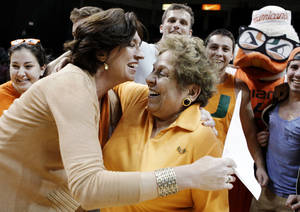 photo - University of Miami president Donna E. Shalala, right, hugs coach Katie Meier, left, after Miami defeated No. 5 Duke 69-65 in an NCAA college basketball game in Coral Gables, Fla., Thursday, Feb. 28, 2013. (AP Photo/Luis M. Alvarez)
