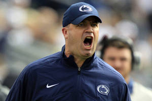 Photo -   Penn State head coach Bill O'Brien yells from the sidelines during the first quarter of an NCAA college football game against Northwestern in State College, Pa., Saturday, Oct. 6, 2012. (AP Photo/Gene J. Puskar)