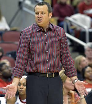 Photo - Louisville head coach Jeff Walz reacts to a call during the second half of an NCAA women's college basketball game against SMU, Sunday, Dec. 29, 2013, in Louisville, Ky. Louisville defeated SMU 71-51. (AP Photo/Timothy D. Easley)