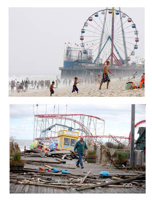 Photo - <p>FILE- In this combination of two file photos, the Funtime Pier in Seaside Heights, N.J. is shown before and after superstorm Sandy made landfall on the Jersey Shore. At top in this Aug. 10, 2010 file photo, the Funtime Pier rises from the sand and surf at Seaside Heights on the New Jersey coast. Below, Funtime Pier Owner Billy Major surveys the damage on Wednesday, Oct. 31, 2012 after superstorm Sandy tore through the region and left only four rides standing. Top (AP Photo/Mel Evans) Bottom (AP Photo/Star-Ledger, David Gard/POOL)</p>