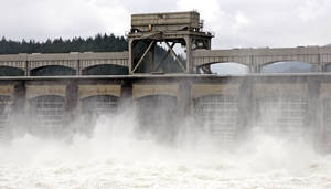 "Photo - This May 16, 2011 file photo shows the Columbia River flowing through the Bonneville Dam near Cascade Locks, Ore. The administrator of the Bonneville Power Administration, which sells and transmits power from this and other dams in the Northwest, has been replaced on an ""interim""' basis. The move comes amid an investigation into whether BPA violated federal requirements to give hiring preference to veterans, and whether employees cooperating with the investigation suffered retaliation from BPA managers. (AP Photo/Rick Bowmer, File)"