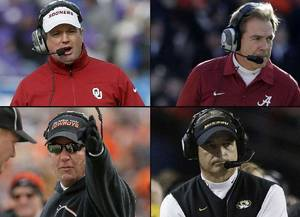 Photo - Clockwise from left: OU's Bob Stoops, Alabama's Nick Saban, Missouri's Gary Pinkel and OSU's Mike Gundy. PHOTOS FROM AP AND OKLAHOMAN ARCHIVES