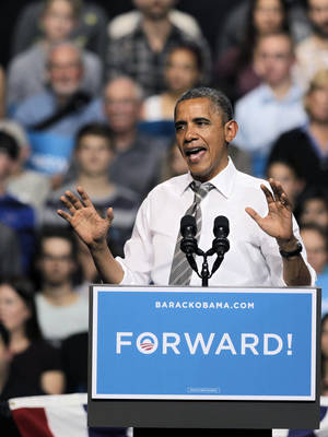 Photo -   President Barack Obama speaks during a campaign rally at the University of Colorado, in Boulder, Colo., Thursday, Nov. 1, 2012. (AP Photo/Brennan Linsley)