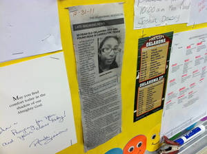 Photo - A newspaper clipping of a story about 10-year-old Jasmen Gonzalez is taped to a wall in a John Glenn Elementary School classroom. Jasmen, of Oklahoma City, was fatally stabbed in Texas over the weekend. Photo by  TIFFANY GIBSON,  The Oklahoman