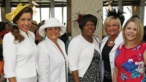 Photo - From left, Darla Zuhdi, Cheryl Clements, Rhonda Thomas, Cindy Sparkman and Tami Loch pose for a photo at the Women of the South's 3rd annual Magnolia Brunch in the Petroleum Club in Oklahoma City, Saturday, April 20, 2013. Photo by Nate Billings, The Oklahoman