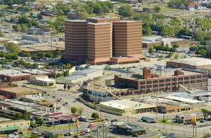 Photo - BUILDING EXTERIOR: The area surrounding the Oklahoma County jail is shown in this aerial photograph on Friday,  April 22, 2005 in Oklahoma City, Oklahoma. The view looks northeast.   Photo by Steve Sisney/News 9/The Oklahoman
