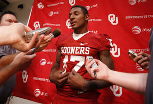 Photo - Trey Metoyer (17) speaks with the media during the Meet the Sooners event at the University of Oklahoma on Saturday, Aug. 4, 2012, in Norman, Okla.  Photo by Steve Sisney, The Oklahoman