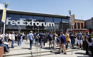Photo - An exterior view of the arena before Game 3 in the second round of the NBA basketball playoffs between the Oklahoma City Thunder and Memphis Grizzles at the FedExForum in Memphis, Tenn., Saturday, May 11, 2013. Photo by Nate Billings, The Oklahoman