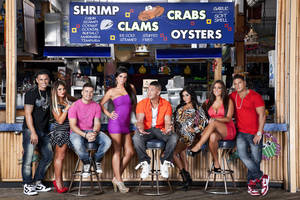 "Photo -   This undated image released by MTV shows the cast of ""Jersey Shore,"" from left, Paul "" DJ Pauly D"" Delvecchio, Deena Nicole Cortese, Vinny Guadagnino, Jenni ""JWOWW"" Farley, Mike ""The Situation"" Sorrentino, Nicole ""Snooki"" Polizzi, Sammi ""Sweetheart"" Giancola and Ronnie Magro in Seaside Heights, N.J. MTV gave the last call for ""Jersey Shore"" on Thursday, Aug. 30, saying the raucous reality show will conclude after its upcoming sixth season, which begins Oct. 4. The series, whose roots lay in a party house in Seaside Heights, N.J., gave rise to such stars as Nicole ""Snooki"" Polizzi and Mike ""The Situation"" Sorrentino, while popularizing the terms ""guido"" and ""guidette."" (AP Photo/MTV, Ian Spanier Photography)"
