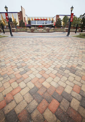 Photo - Pavestone Co. pavers are used extensively in Bricktown near the Harkins Theater.  Photo by David McDaniel,  The Oklahoman