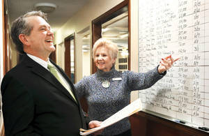Photo - Keith Taggart, president of the Oklahoma City Metro Association of Realtors, and Realtor Paulette Statler look at a wallboard of listings at the Coldwell Banker Select office in Mustang, where Taggart is managing broker. Photo by Jim Beckel, THE OKLAHOMAN