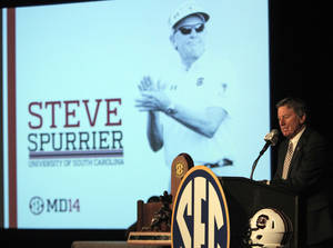 South Carolina football coach Steve Spurrier speaks to media at the Southeastern Conference media days, Tuesday, July 15, 2014, in Hoover, Ala. (AP Photo/Butch Dill)