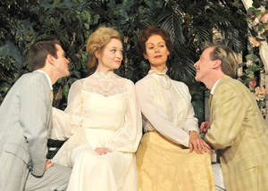 "Photo - From left, Alex Enterline stars as Claudio, Lauren Thompson as Hero,  Stacey Logan as Beatrice and Lane Fields as Benedick in Shakespeare's ""Much Ado About Nothing,"" a coproduction of Oklahoma City Repertory Theatre and TheatreOCU. Photo by Wendy Mutz <strong>WENDYMUTZ</strong>"