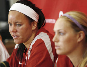 photo - OU's Keilani Ricketts, left, speaks next to teammate Jessica Shults during college softball media day for the University of Oklahoma Sooners at the OU softball complex in Norman, Okla., Monday, Feb. 6, 2012.  Photo by Nate Billings, The Oklahoman