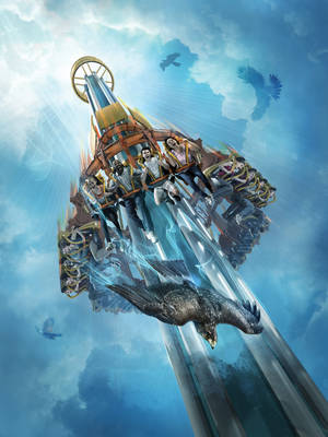 Photo - This artist's rendering supplied by Busch Gardens shows Falcon's Fury, a new thrill ride opening May 1 at the theme park in Tampa, Fla. The ride will seat riders upright, take them to the top of a 335-foot tower, then pivot seats 90 degrees so riders face straight down as they plunge 60 mph in a six-second free fall. (AP Photo/Busch Gardens Tampa)