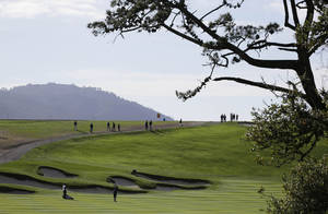 Photo - New England Patriots head coach Bill Belichick hits from the sixth fairway of the Pebble Beach Golf Links during a practice round for the AT&T Pebble Beach Pro-Am golf tournament Wednesday, Feb. 5, 2014, in Pebble Beach, Calif. (AP Photo/Eric Risberg)