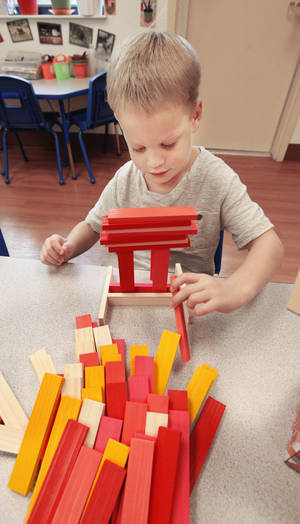 Photo - FILE PHOTO: Nate, 4,  plays with CitiBlocs during a toy test at The Goddard School in Oklahoma City. <strong>PAUL B. SOUTHERLAND - THE OKLAHOMAN</strong>