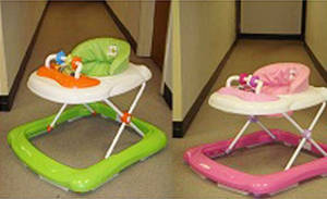 Photo - This undated photo provided by the U.S. Consumer Product Safety Commission shows BebeLove Baby Walkers. The BebeLove Baby Walkers, Model Nos. 358 and 368, are being recalled because they failed to meet federal safety standards. Specifically, style number 358 can fit through a standard doorway and is not designed to stop at the edge of a step as required by the federal safety standard. In addition, style number 368 contains leg openings that allow the child to slip down until the child's head can become entrapped at the neck. (AP Photo/U.S. Consumer Product Safety Commission)