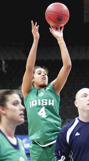 Photo - Notre Dame's Skylar Diggins shoots the ball during practice on Saturday in Kansas City, Mo.  Photo by Bryan Terry, The Oklahoman
