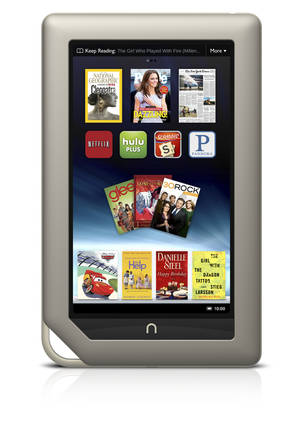Photo -   FILE - This file product image provided by Barnes & Noble Inc., shows the new $249 Nook Tablet, which was unveiled Monday, Nov. 7, 2011, in New York. Barnes & Noble Inc. and Microsoft Corp. are teaming up to create a new Barnes & Noble subsidiary that will house the digital and college businesses of the bookseller and include a Nook application for Windows 8. The companies said Monday, April 30, 2012 that they are exploring separating those businesses entirely. That could mean a stock offering, sale, or other deal could happen. (AP Photo/Barnes & Noble Inc., File)