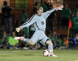 Photo -  April 26, 2014: Jon Kempin kicks the ball as the OKC Energy FC play the Orlando City Lions in a USL Pro game at Pribil Stadium in Oklahoma City, Oklahoma. Photo by Steven Christy, Oklahoma City Energy FC  <strong>Steven Christy -  Steven Christy </strong>