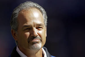 Photo -   FILE - In this Sept. 23, 2012, file photo, Indianapolis Colts head coach Chuck Pagano appears before an NFL football game against the Jacksonville Jaguars in Indianapolis. In a somber news conference on Monday, Oct. 1, the Colts announced that their new coach had been hospitalized for cancer treatment and probably would not return to full coaching duties this season. He will be replaced on an interim basis by offensive coordinator Bruce Arians. (AP Photo/AJ Mast, File)