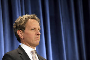 photo -   Treasury Secretary Timothy Geithner listens during a news conference on the Social Security and Medicare Trustees Reports, Monday, April 23, 2012, at the Treasury Department in Washington. Trustees update forecasts for the government's two largest benefit programs, which are laboring under the weight of retiring baby boomers, revenue shortages and politicians' reluctance to take painful action to fix them. (AP Photo/Susan Walsh)