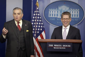 Photo - White House press secretary Jay Carney and Transportation Secretary Ray LaHood brief reporters regarding the sequester, Friday, Feb. 22, 2013, at the White House in Washington. (AP Photo/Charles Dharapak)
